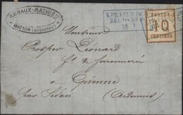 Guerre De 1870 Occupation Allemande Ardennes Oblitération Bleue Militaire Timbre Alsace Lorraine Matton Givonne Feldpost - Marcophilie (Lettres)