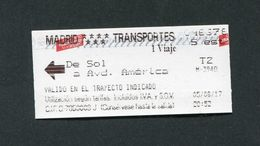 Ticket De Métro Madrid - Billet De Transport - Espagne - Métro