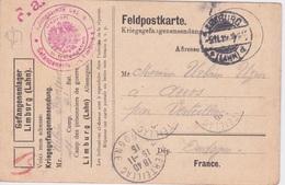 1915 - LETTRE D'UN MILITAIRE PRISONNIER A LIMBURG  TO VERTILLAC DORDOGNE 24 - Guerra 1914-18