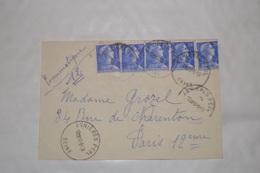 PNEUMATIQUE  LETTRE(1958) AVEC TIMBRES  N° 1010B CACHETS ASNIÉRES .NEUILLYS SUR SEINE.PARISXII. PARIS  21:. - Telegraph And Telephone