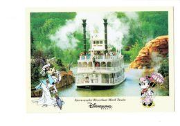 Cpm EURO DISNEY Disneyland Paris 1996 Bateau Vache Clarabelle Parapluie Minnie STERN-WEELER RIVERBOAT MARK TWAIN - Disneyland