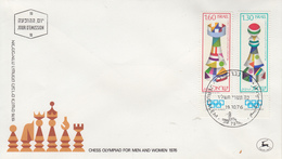 Enveloppe  FDC  1er  Jour   ISRAEL     OLYMPIADE   D' ECHECS   1976 - Echecs