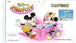 Télécarte Japon * DISNEY * 110-813   MICKEY & MINNIE * CAPCOM  (5755)   Japan Phonecard Telefonkarte - Disney