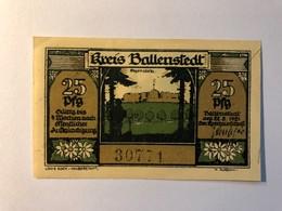 Allemagne Notgeld Ballenstedt 25 Pfennig - [ 3] 1918-1933 : Weimar Republic