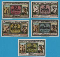 STADT GLOGAU 1+5+10+25 PFENNIG / 1/2 MARK 31.12.1920 NOTGELD - [11] Local Banknote Issues