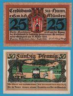 STADT Hann. Münden 2 X  25 PFENNIG 01.07.1921 NOTGELD - [11] Emissions Locales