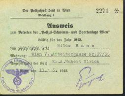 Österreich   Ausweis Nr, 2271 Zum Betreten Der Polizei=Schwimm Und Sportanlagen  1942 - Berufe