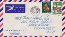 Lettre Afrique Du Suid Johannesburg Waldorf Hotel 1968 South Africa  Greenwich Connecticut USA - Afrique Du Sud (1961-...)