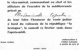 """INVITATION A GOUTER A BORD DU VAISSEAU DE LA REPUBLIQUE """"LA BRETAGNE"""" LE 17 FEVRIER 1926 - Documents"""