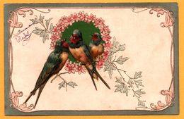 Cpa Gaufrée - 3 Hirondelles - Hirondelle - Oiseaux - Fleurs - 1904 - Oiseaux