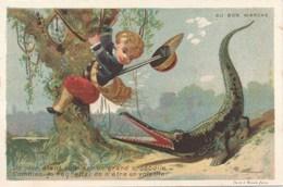 Chromo Testu & Massin Chasse Au Crocodile AU BON MARCHE  Paris - Au Bon Marché
