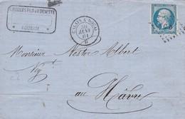 """Napoléon III  -  Oblitération  Ambulant """"CALAIS à DOUAI"""" Sur Pli Vers LE HAVRE + Ambt PARIS Au HAVRE - 1853-1860 Napoléon III"""