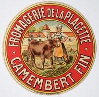 CAMEMBERT FIN - Fromagerie De La Placette - Etiquette Ancienne /E244 - Cheese