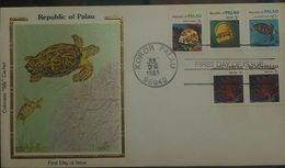 L) 1983 REPUBLIC OF PALAU, TORTOISE, MARINE SPECIES, SEA FAN, HAWKSBILL TURTLE, JELLYFISH, MULTIPLE STAMPS, AIR MAIL, FD - Palau