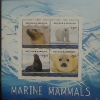 L) 2016 ANTIGUA & BARBUDA, POLAR BEAR, MARINE MAMMALS, CALIFORNIA SEA LION, SEAL, FAUNA, MNH - Antigua And Barbuda (1981-...)