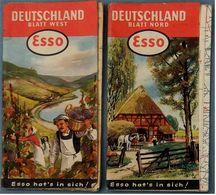 2 X Esso Strassenkarte Deutschland Süd + Nord - Ca. 61 X 61 Cm - Ca. 1956 / 1959 - Strassenkarten