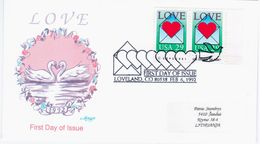 USA United States 1992 FDC Love, Swan Swans Bird Birds, Canceled In Loveland - FDC