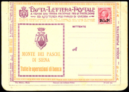 Italy (1923) Lettercard With BLP Stamp Affixed And Multiple Advertisements Inside And Out. Ads For: Bank. Pharmacy. Reme - Italy