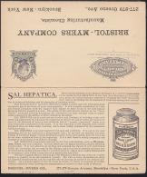 U.S.A. (1910) Bottle Of Sal Hepatica. 1c Postal Card With Attached Reply Card And Illustrated Ad For Laxative And Uric A - Medicina