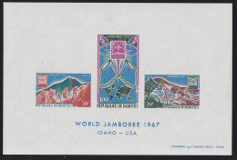 Dahomey (1967) Scout Jamboree. Imperforate Souvenir Sheet Celebrating 12th Boy Scout World Jamboree.  Scott No C59a, Yve - Scoutisme