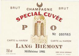 Etiquette Champagne BRUT LANG BIEMONT à OIRY Millésime 1981 - CARTE DU HAREM N° 000565 - Champagne