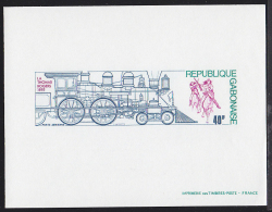 Gabon (1975) 1895 La Thomas Rogers Locomotive. Indians Attacking. Deluxe Sheet.  Scott No C164, Yvert No PA164. - Treni