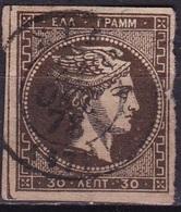 GREECE 1876 Large Hermes Head Athens Print 30 L Deep Brown Vl. 59 Da - Gebruikt