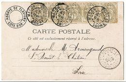 SAONE ET LOIRE CP 1904 MACON T84 SUR BANDE DE 5 DU 1C BLANC - Postmark Collection (Covers)