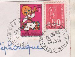 LETTRE ENTIERE 1973 - BEQUET, VIGNETTE ANTITUBERCULEUSE 1973 ( ENFANT A LA TROMPETTE ) CACHETS MANUELS MEURCHIN  62 - Commemorative Labels