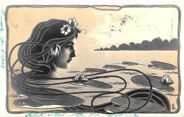 [DC11415] CPA - VOLTO FEMMINILE - LIBERTY - FIRMATA NPG - Viaggiata 1902 - Old Postcard - Cartoline