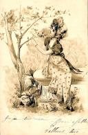[DC11424] CPA - DONNE SU PANCHINA - IN RILIEVO - Viaggiata 1902 - Old Postcard - Illustratori & Fotografie