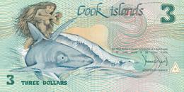 COOK ISLANDS - 1987 , 3 DOLLARS  Göttin Ina Auf Hai Reitend , Auslegerboot   - Bankfrisch - Cookeilanden