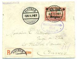 Belgique - OC8 Sur Recommandé De Haybes (France) à Anvers Censure à Namur 09 Sept 1916 - Guerre 14-18