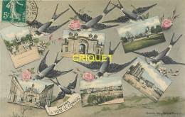 51 Vitry Le François, Ancienne Fantaisie Multivues Et Hirondelles, Carte Colorisée Affranchie 1910 - Vitry-le-François