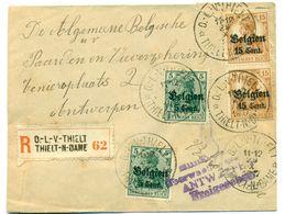 Belgique OC12 X2 OC15 X2 Sur Recommandé De O-L-V_Thielt à Antwerpen  29 Oct 1917 - WW I
