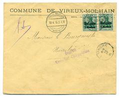 Belgique OC2 X2 Sur Lettre De Vireux-Molhain (France) à Niverlée (Belgique)  10 Avril 1916 - Guerra 14 – 18