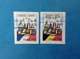 1993 ITALIA FRANCOBOLLI USATI STAMPS USED - BENVENUTA EUROPA UNITA FRANCIA + BELGIO - 6. 1946-.. Repubblica