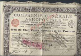 ACTION COMPAGNIE GÉNÉRALE AÉROPOSTALE SIEGE SOCIAL PARIS RUE MARCEAU : - Aviation