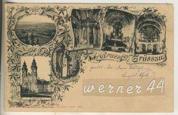 Gruss Aus Grüssau V.1902  Totalansicht,Fürstengruft,Hochaltar,Die Orgel,Klosterkirche  (13050) - Schlesien