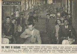 BASSANO RADUNO VESPISTI RITAGLIO DI GIORNALE 1952 - Vecchi Documenti