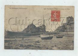 Pléneuf-Val-André (22) : MP De Bateaux échoué Dans Le Vivier à Marée Basse + Villas Vue De La Plage En 1905 (animé) PF. - Pléneuf-Val-André