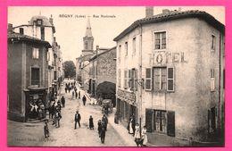 Régny - Rue Nationale - Hôtel Du Commerce - Calèche -Tabac - Animée - HENRI BLEIN - Francia