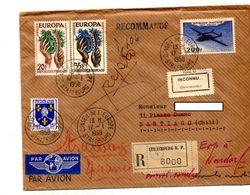 Lettre Recommandee Strasbourg Conseil Europe Sur Europa Avion  + Vignette Inconnu  + Santiago - Manual Postmarks