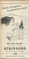 ATKINSON BAL DES FLEURS ACQUA DI COLONIA RITAGLIO DI GIORNALE 1952 - Vecchi Documenti