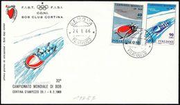 Italia/Italy/Italie: FDC, Campionato Mondiale Di Bob, Bob World Championship, Championnat Du Monde Bob - Inverno