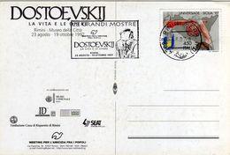 Italia 1997 Rimini Dostoevskij Mostra: La Vita E Le Opere Annullo Meccanico Cartolina Dedicata - Scrittori