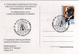 Italia 1990 Rimini 150° Anniversario Cassa Di Risparmio Di Rimini Mostra Di Pittura Annullo Cartolina Dedicata - Fabbriche E Imprese