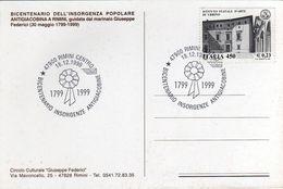 Italia 1999 Rimini Bicentenario Insorgenza Popolare Antigiacobina Marinaio Giuseppe Federici Annullo Cartolina Dedicata - Rivoluzione Francese