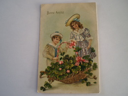 Carte Relief - Embossed - Prage // Bonne Amitie // Lucky Clover Boy And Girl // 19?? - Wensen En Feesten