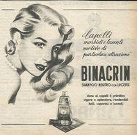 BINACRIN SHAMPOO CON LUCEFIX RITAGLIO DI GIORNALE 1952 - Vecchi Documenti